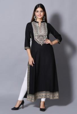DURGSHREE Women Embellished A-line Kurta(Black)
