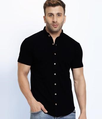 GESPO Men Solid Casual Black Shirt