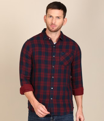 Lee Men Checkered Casual Red, Blue Shirt