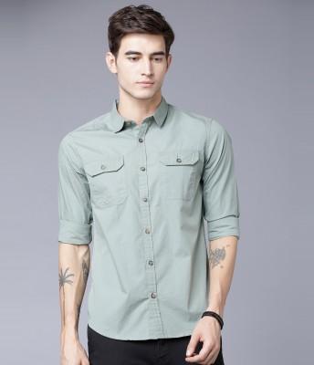 HIGHLANDER Men Solid Casual Grey Shirt