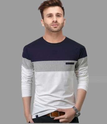 FastColors Striped Men Round Neck White, Blue T-Shirt
