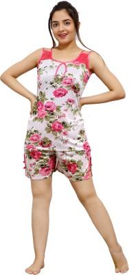 Kanika Women Solid Pink Top & Shorts Set