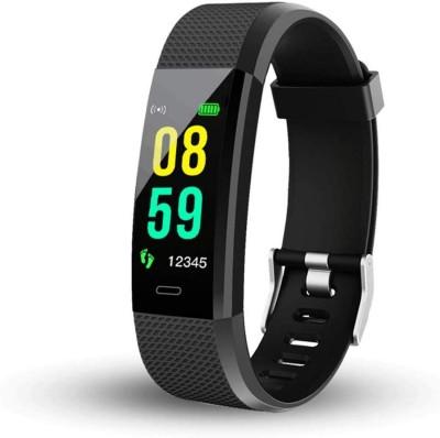 HUG PUPPY Smart Band Fitness Tracker(Black Strap, Size : Standard)