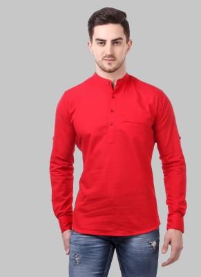 Tap in Men Self Design Straight Kurta(Red)