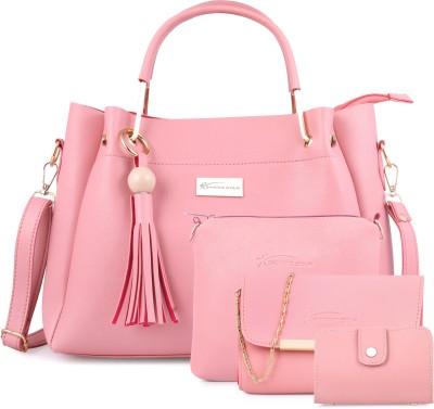 Shining Star Women Pink Hand-held Bag(Pack of: 4)