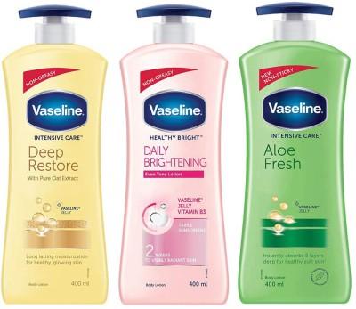 Vaseline Intensive Care DEEP RESTORE, ALOE FRESH & HEALTHY BRIGHT DAILY BRIGHTENING(1200 ml)