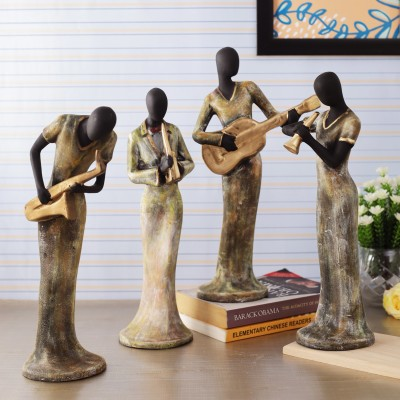 TIED RIBBONS Decorative Ladies Playing Musical Instrument Showpiece Collectible Figurines for Home Décor Wall Shelf Table Office Living Room Decoration Item Decorative Showpiece  -  34 cm(Polyresin, Multicolor)