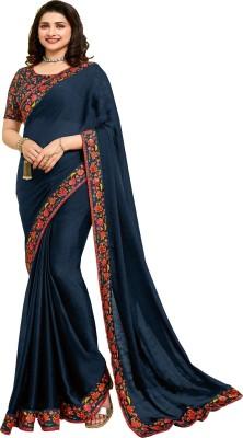 Hensi sarees shop Self Design, Blocked Printed, Digital Print, Floral Print Daily Wear Cotton Linen Blend, Barfi Saree(Blue)