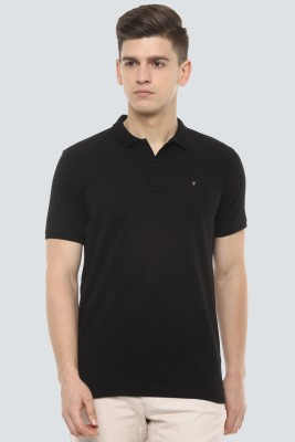 Louis Philippe Sport Solid Men Polo Neck Black T-Shirt