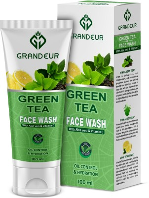 Grandeur Green Tea With Aloe Vera & Vitamin C For Oil Control And Hydration - 100ml | All Skin Types | Face Wash(100 ml)