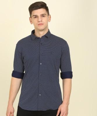 Van Heusen Sport Men Printed Casual White, Dark Blue Shirt