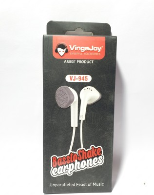 Vingajoy VJ-945 Wired Headset(White, In the Ear)