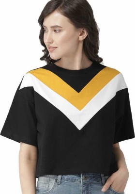 JUNEBERRY Casual Short Sleeve Color Block Women White, Black, Yellow Top