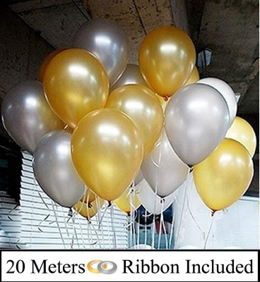 DECOR MY PARTY Solid 10 Inch Golden & Silver Metallic Balloons for Birthday Party Decorations Balloon(Gold, Silver, Pack of 50)