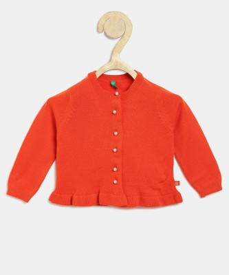 United Colors of Benetton Girls Button Solid Cardigan