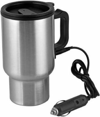 SHREEJI ENTERPRISE 12V Stainless Steel Car Charging Electric Heated Stainless Steel Coffee Stainless Steel Coffee Mug(450 ml)