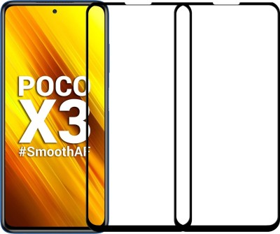 Karpine Edge To Edge Tempered Glass for Poco X3(Pack of 2)