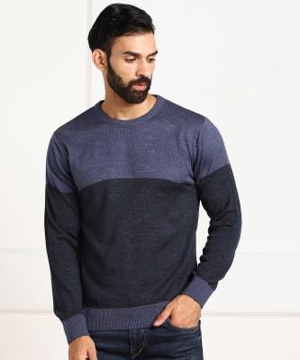 NUMERO UNO Solid Crew Neck Casual Men Blue Sweater