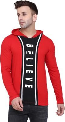 Senzara Unique Fashion Printed Men Hooded Neck Red T-Shirt