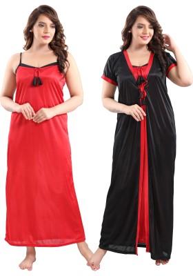 TRUNDZ Women Nighty with Robe(Black)