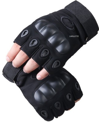 LAFILLETTE Half Finger Hard Knuckle Motorcycle Army Shooting Outdoor Breathable Gloves Gym & Fitness Gloves(Black)