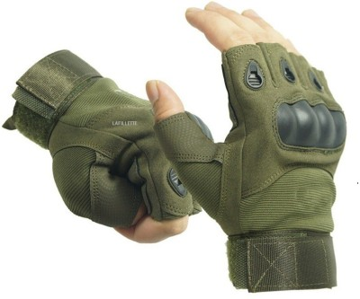 LAFILLETTE Half Finger Hard Knuckle Motorcycle Army Shooting Outdoor Breathable Gloves Gym & Fitness Gloves(Green)
