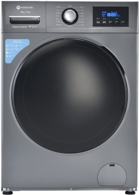 Motorola 8/5 kg Smart Wi-Fi Enabled Inverter Technology Washer with Dryer with In-built Heater Grey(80WDIWBMDG)