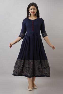 CLOTHING HOUSE Women Printed Flared Kurta(Dark Blue)