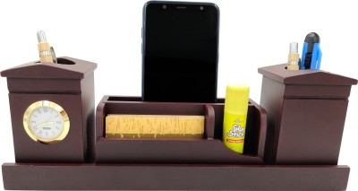 WOODHOUSE 5 Compartments Wooden Pen Stand::Mobile Stand::Card Holder(Cherry)