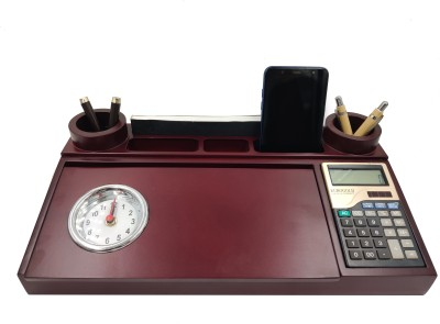 WOODHOUSE 7 Compartments Wooden Pen Stand::Mobile Stand::Calculator::Draft(Cherry)