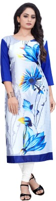 Siya Fashion Women Printed, Self Design, Floral Print A-line Kurta(White, Blue)