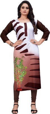 Siya Fashion Women Printed, Self Design, Floral Print A-line Kurta(White, Brown)