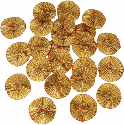 Crafto Gota Patti Flowers Appliques Patches for Embroidery Decoration and Craft Making(Gold Color,100 Pieces)