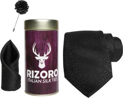 RIZORO Satin Cufflink & Tie Pin Set(Black)