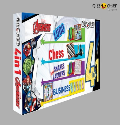 Miss & Chief Avengers 4 Board Games in 1 Pack (Ludo, Chess, Snakes And Ladders, Business) Party & Fun Games Board Game