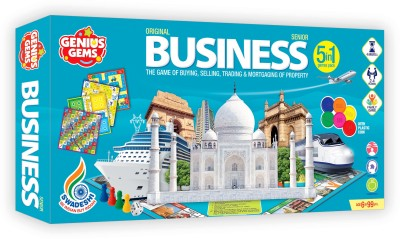 GENIUS GEMS BUSINESS GAME WITH COINS 5 IN 1 GAME FOR ALL AGES Party & Fun Games Board Game