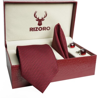 RIZORO Satin Cufflink & Tie Pin Set(Maroon)