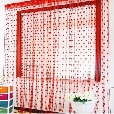 DTODEXPRESS 213.3 cm (7 ft) Polyester Door Curtain Single Curtain(Self Design, Red)