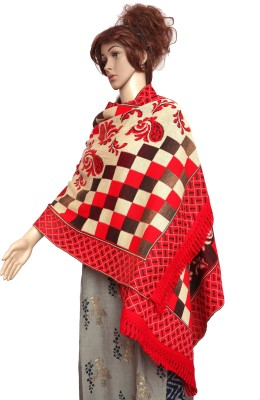 Royal Kashmir Wool Checkered Women Shawl(Red)