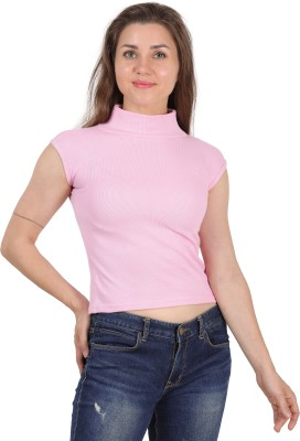 FineCreations Casual Cap Sleeve Solid Women Pink Top