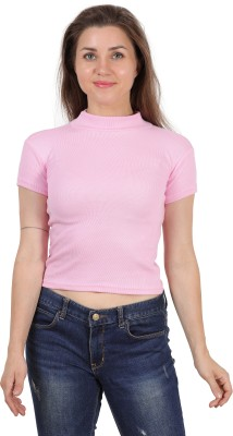 FineCreations Casual Half Sleeve Solid Women Pink Top