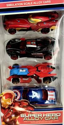 Richuzers Simulation Scale Avenger Super Hero Alloy Metal Die Cast Car Set of 4(Multicolor)