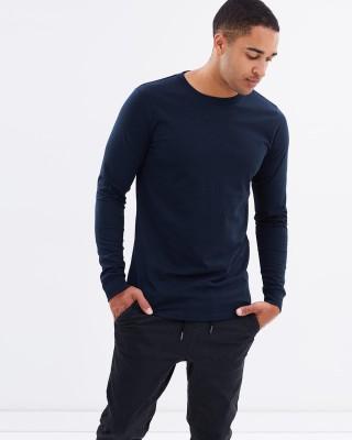 Trends Tower Solid Men Round Neck Dark Blue T-Shirt