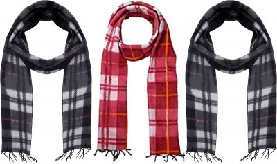 MUKHAKSH Checkered Men Muffler(Pack of 3)