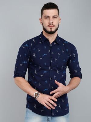 ASIAN & FITCH Men Printed Casual Dark Blue, Light Blue, White Shirt