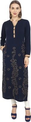 Rosary Women Embroidered Straight Kurta(Blue)