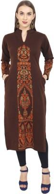 Rosary Women Printed Straight Kurta(Brown)