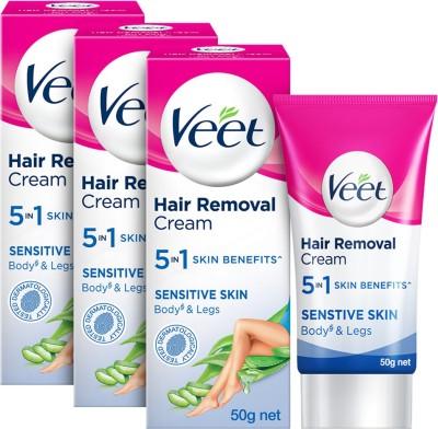 Veet Silk and Fresh Hair Removal - Sensitive Skin Cream(150 g, Set of 3)
