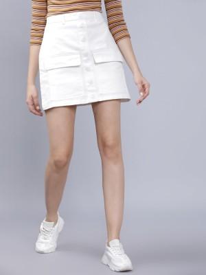 Tokyo Talkies Solid Women Regular White Skirt