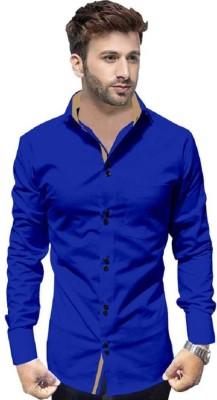 Pepzo Men Solid Casual Dark Blue Shirt